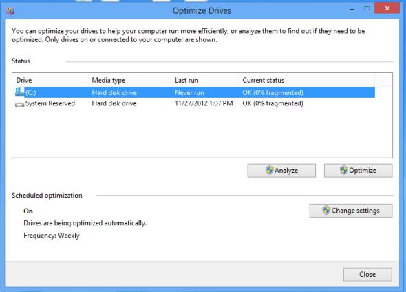 Schermata per la deframmentazione del disco di Windows 8
