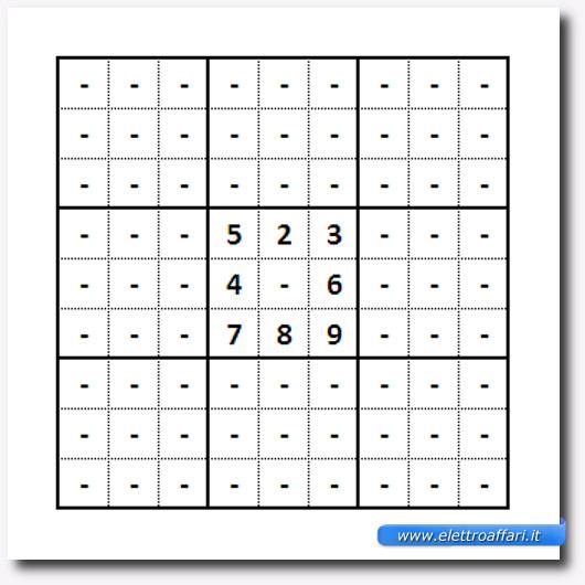 Immagine di uno schema Sudoku con una casella quasi piena