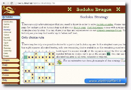 Immagine del sito Sudoku Dragon che contiene trucchi per il Sudoku