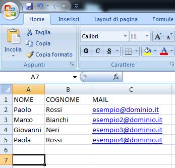 Immagine della creazione del file CSV