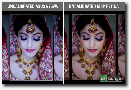 Immagine di confronto tra due monitor con gamma di colori diversa