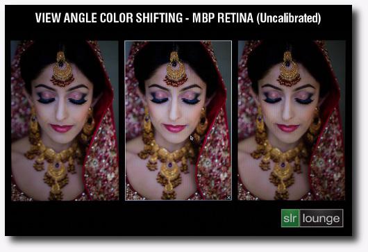 Confronto tra tre immagini con angolo di visuale di un dispay retina