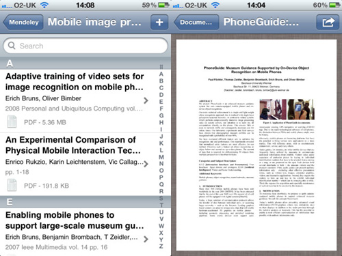 Immagine dell'applicazione Mendeley per iPhone e iPad
