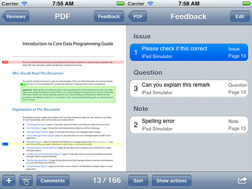 Immagine dell'applicazione PDF Review Free per iPhone e iPad