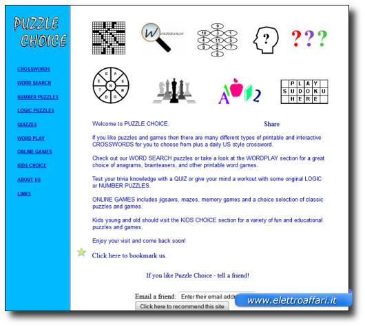 Immagine del sito Puzzle Choice per giocare a Sudoku