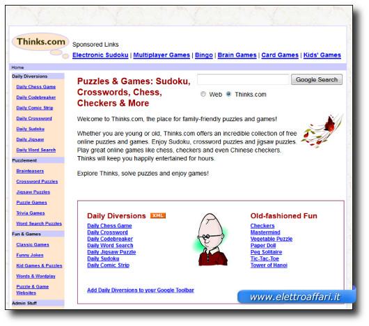 Immagine del sito Thinks.com per giocare a Sudoku