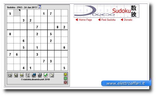 Immagine del sito Crossword Network per giocare a Sudoku