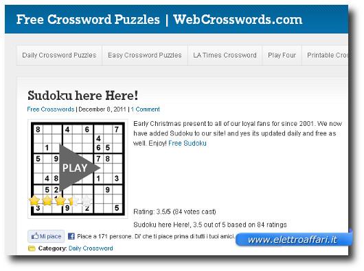 Immagine del sito WebCrosswords.com per giocare a Sudoku