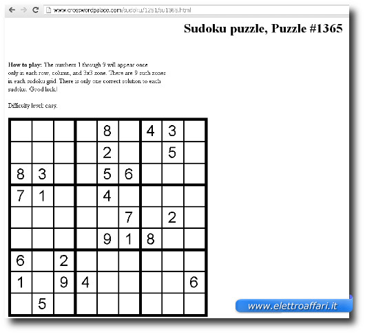 Immagine del sito Crossword Palace per giocare a Sudoku