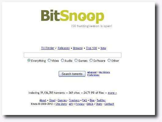 Immagine del sito BitSnoop per scaricare torrent