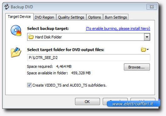 Schermata del programma per copiare DVD