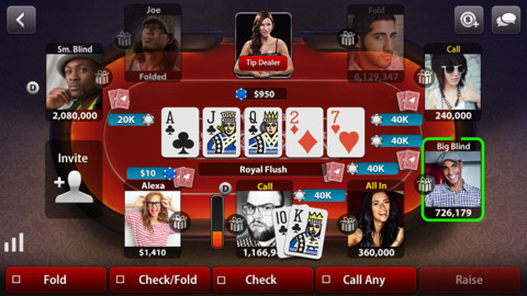 Immagine del gioco di carte Zynga Poker per iPhone e iPad