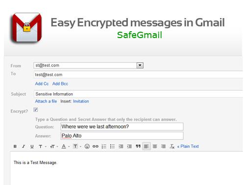Schermata di SafeGmail per inviare email criptate