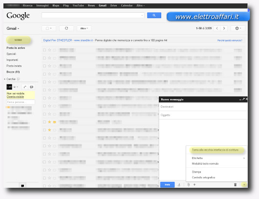Schermata generale di Gmail