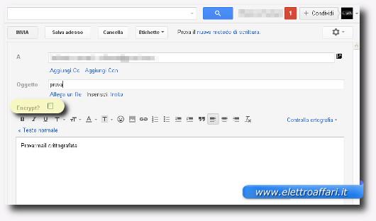 Schermata classica per l'invio di email su Gmail