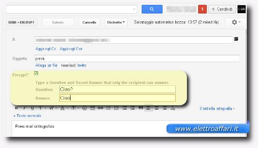 Schermata per l'inserimento della domanda e della risposta per criptare l'email