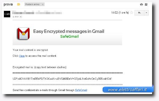 Schermata della email crittografata