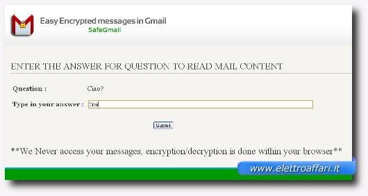 Schermata per l'inserimento della risposta alla domanda per decifrare l'email