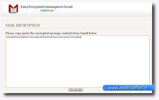 Schermata per decriptare l'email ricevuta