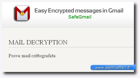 Messaggio dell'email decriptata