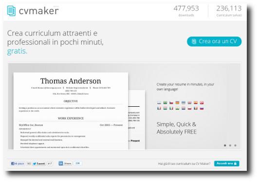 Immagine della home page del sito CV Maker