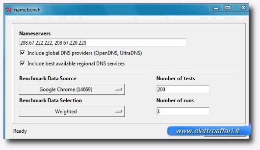 Schermata del programma NameBench per trovare i DNS più veloci