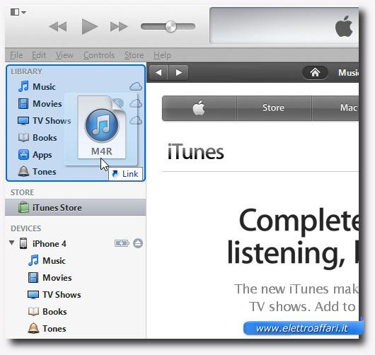 Schermata di iTunes per copiare il file M4R