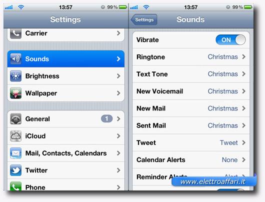Schermata dell'iPhone per modificare la suoneria