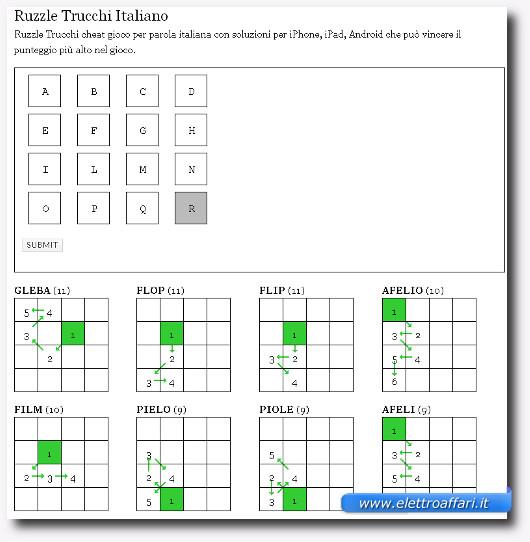 Immagine del sito World Solver per trovare le parole di uno schema Ruzzle