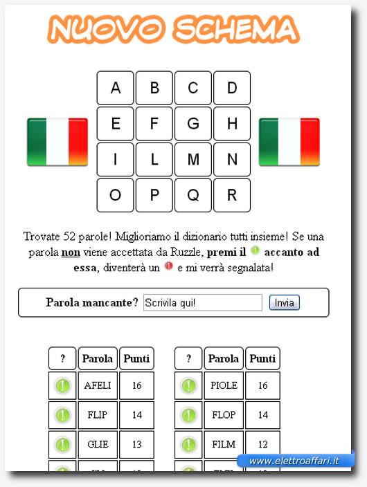 Immagine del sito Oceanor per trovare le parole di uno schema Ruzzle
