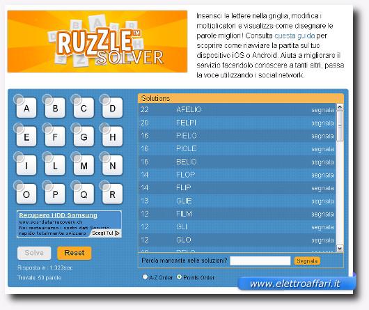 Immagine del sito MiroMannino per trovare le parole di uno schema Ruzzle