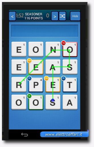 Immagine dell'applicazione Ruzzle Help per Android per trovare le parole di uno schema Ruzzle