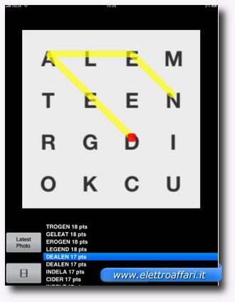Immagine dell'applicazione Cheat For Ruzzle (iPhone e iPad) per trovare le parole di uno schema Ruzzle