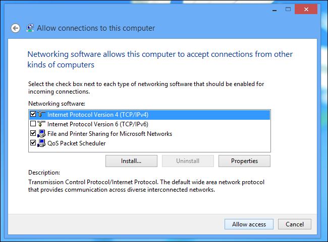Schermata di Windows 8 per la scelta del tipo di connessione