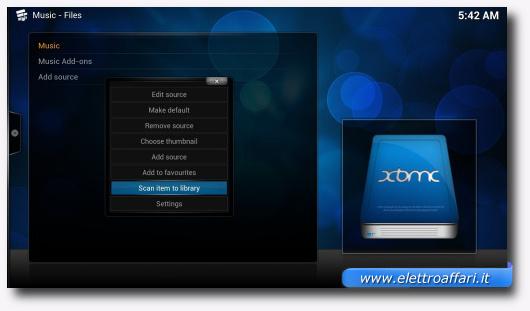 Schermata di XBMC per aggiungere video e musica alla libreria
