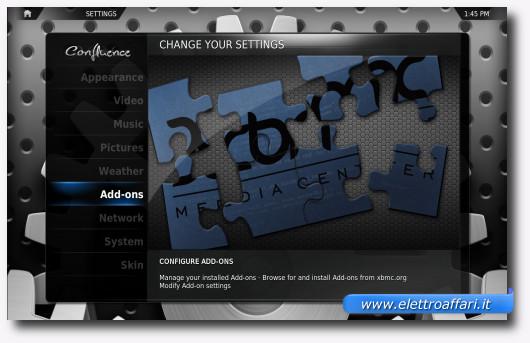 Schermata per personalizzare XBMC
