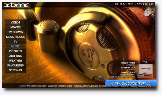 Schermata di XBMC per la riproduzione di video e musica
