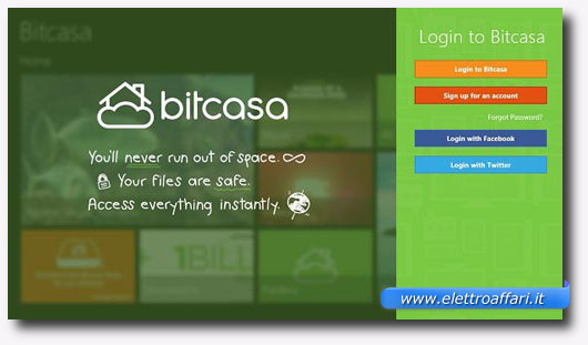 Immagine dell'applicazione Bitcasa Infinite Storage per Windows 8