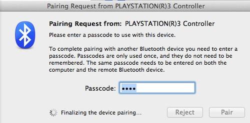 Schermata per collegare il controller PS3 con il Mac