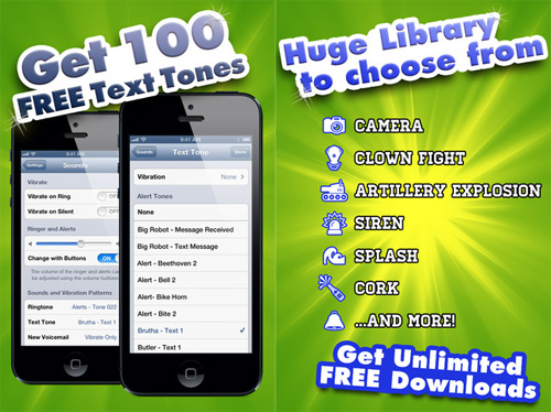 applicazione Free Text Tones per iPhone