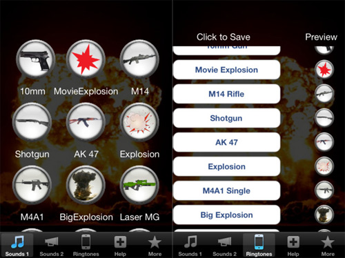 Gun and Explosion Ringtones per iPhone