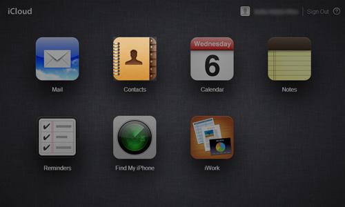 Schermata di iCloud per accedere ai contatti