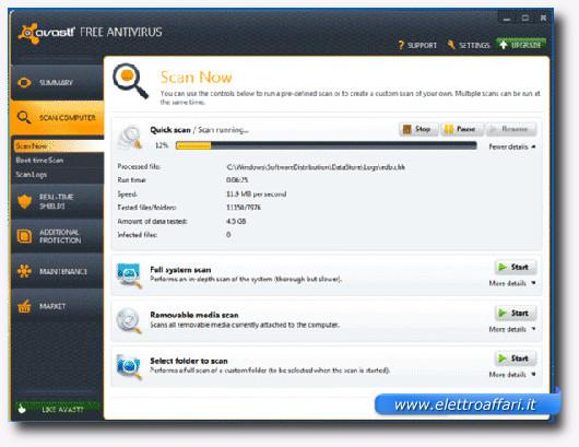 Immagine dell'antivirus gratis avast! Free Antivirus 7