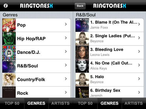 Immagine dell'applicazione RingtonesX per iPhone