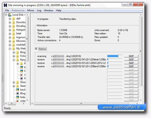 Schermata di download del sito web