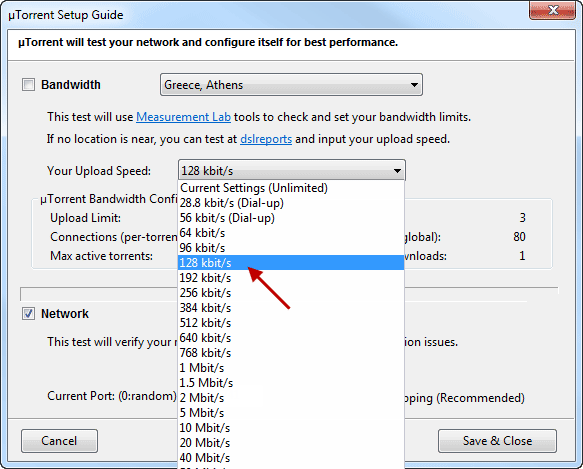 Schermata per impostare la velocità di download su uTorrent