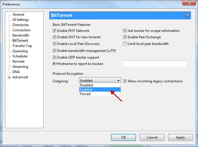 Schermata per abilitare la crittografia su uTorrent