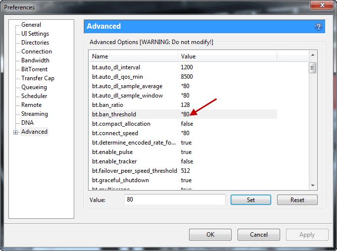 Schermata di uTorrent per modificare alcuni parametri