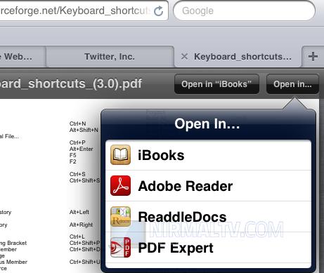 Schermata di iBooks per salvare PDF