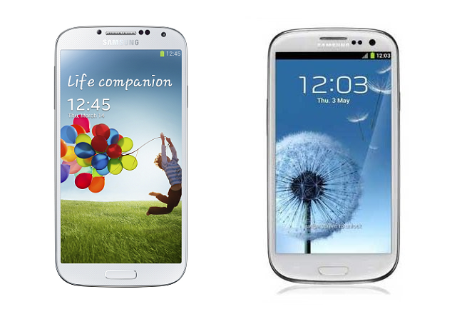 Immagine di confronto tra il Galaxy S3 e il Galaxy S4